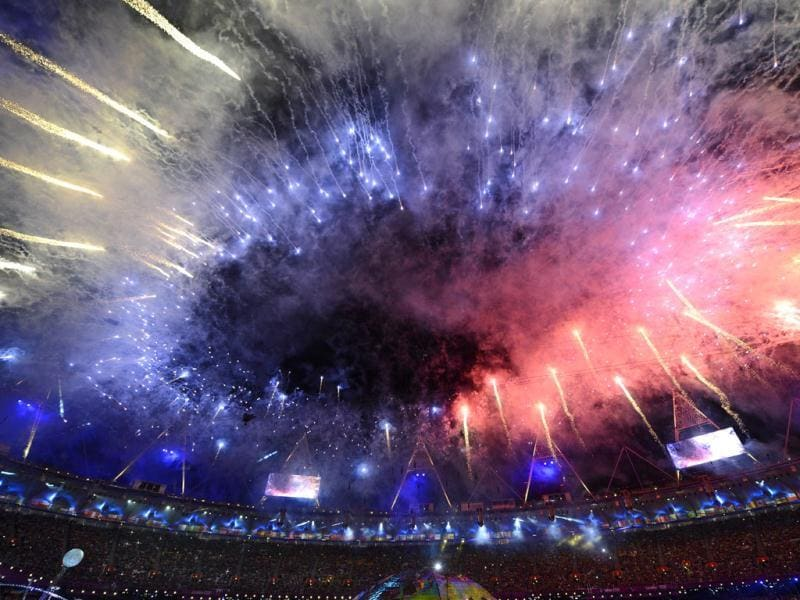 Fireworks burst over the Olympic Stadium during the opening ceremony of the London 2012 Paralympic Games in east London. AFP Photo