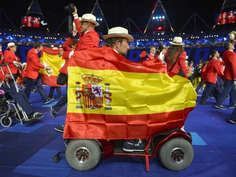 Members of Spain's delegation parade during the opening ceremony of the London 2012 Paralympic Games at the Olympic Stadium in east London. AFP Photo