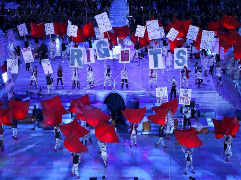 Performers hold placards as they take part at the opening ceremony of the London 2012 Paralympic Games in the Olympic Stadium. Reuters Photo