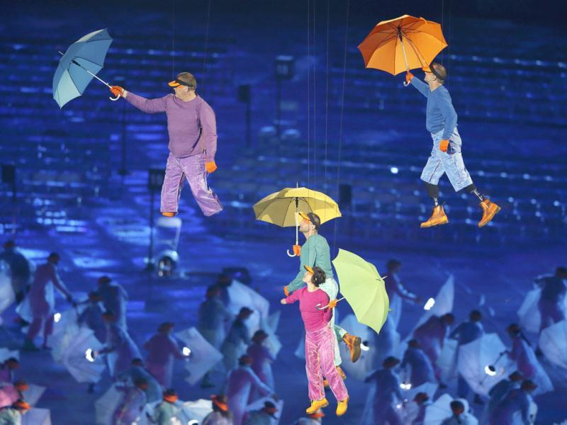 Performers are lifted into the air in the Olympic Stadium during the opening ceremony of the London 2012 Paralympic Games. Reuters Photo