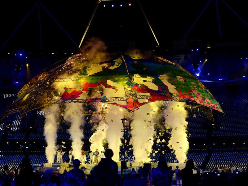 Artists perform during the opening ceremony of the London 2012 Paralympic Games at the Olympic Stadium in east London. AFP Photo