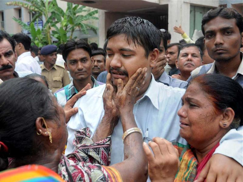 Relatives of the convicts in 2002 Naroda Patiya massacre case, in tears outside the court on the day of pronouncement of sentence in the case, in Ahmedabad. PTI Photo