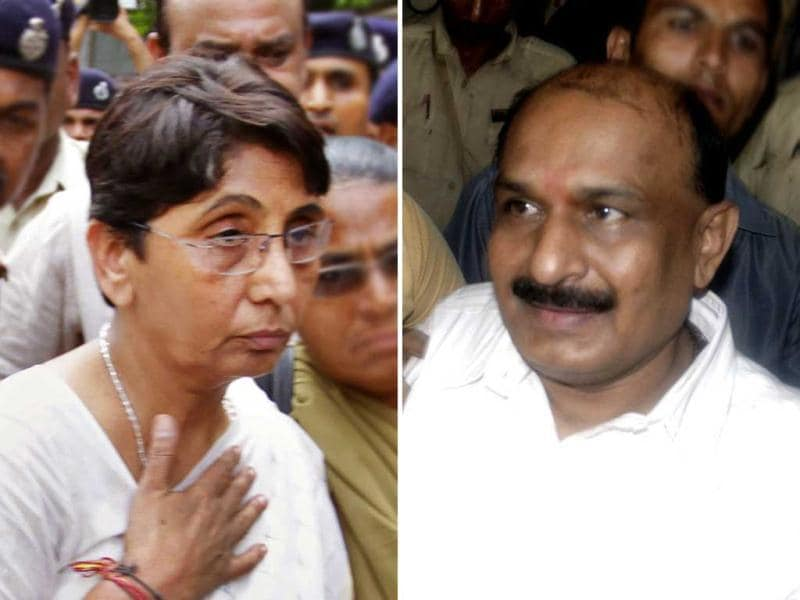A combination photo of BJP MLA Maya Kodnani and former Bajrang Dal leader Babu Bajrangi, who were awarded life imprisonment in Naroda-Patiya massacre case.