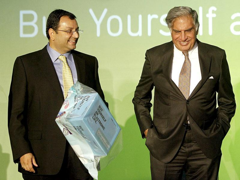 Ratan Tata and Cyrus Mistry attend the launch of a new website for tech superstore Croma, managed by Infiniti Retail, a part of the Tata Group, in Mumbai. Reuters Photo