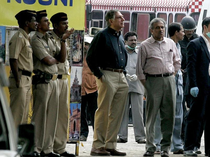Ratan Tata stands in front of Taj Mahal hotel after the operation to dislodge militants in Mumbai. Reuters Photo