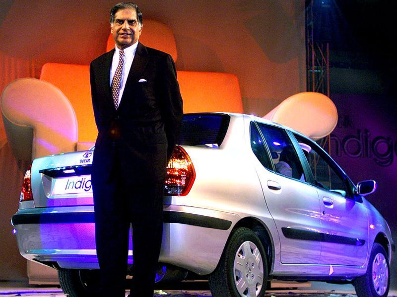 Ratan Tata presents the company's new passenger car Tata Indigo during its launch in Bombay. Reuters Photo