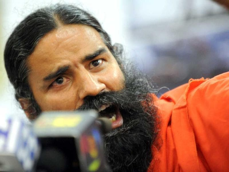 Baba Ramdev addresses a press conference in New Delhi. AFP Photo/Raveendran