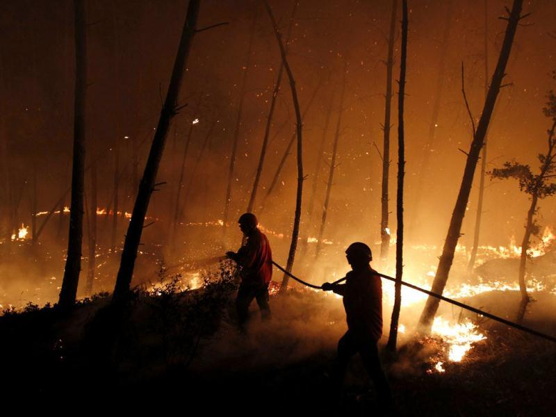 Firefighters attempt to extinguish a forest fire burning in Ribeira do Farrio, near Ourem. Reuters photo