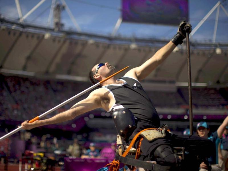 New Zealand's Peter Martin competes in the men's Javelin Throw F52/53 at the 2012 Paralympics in London. (AP Photo/Emilio Morenatti)