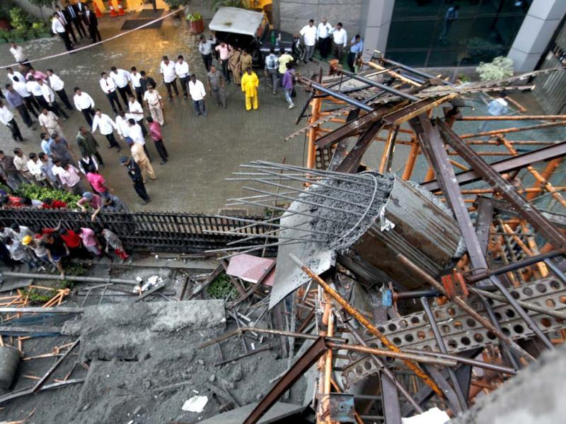 The Mumbai metro bridge collapse occurred near Leela Hotel in Mumbai. HT Photo/Satish Bate