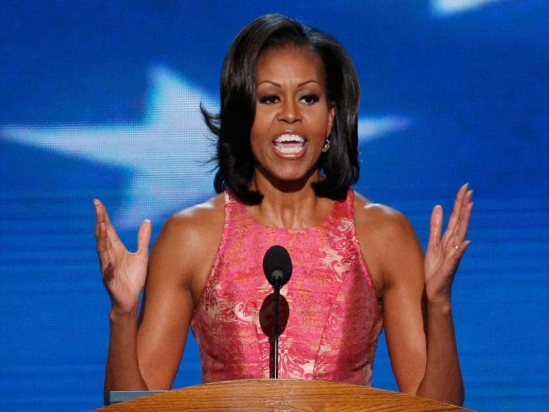 US first lady Michelle Obama addresses delegates during the first session of the Democratic National Convention in Charlotte, North Carolina. (Reuters)