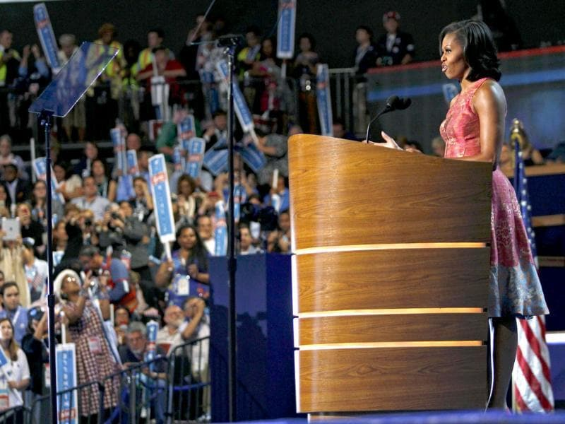 US first lady Michelle Obama addresses the first session of the Democratic National Convention in Charlotte, North Carolina. Reuters/Jessica Rinaldi