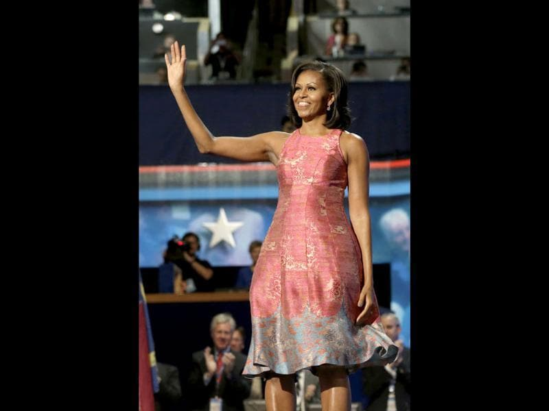 First lady Michelle Obama waves to delegates at the Democratic National Convention in Charlotte, North Carolina. AP/Charles Dharapak