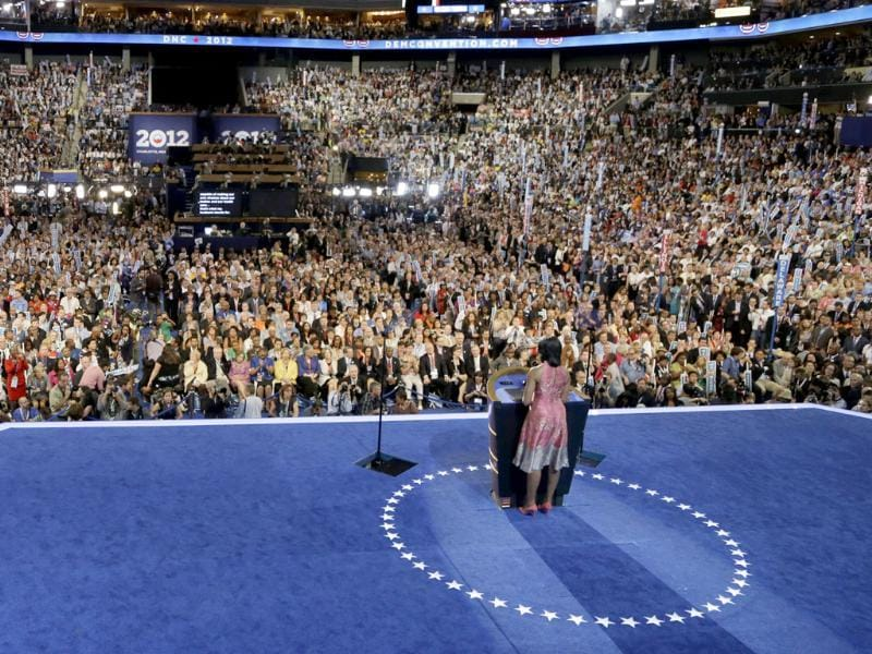 First lady Michelle Obama speaks to delegates at the Democratic National Convention in Charlotte, North Carolina. AP/Charlie Neibergall
