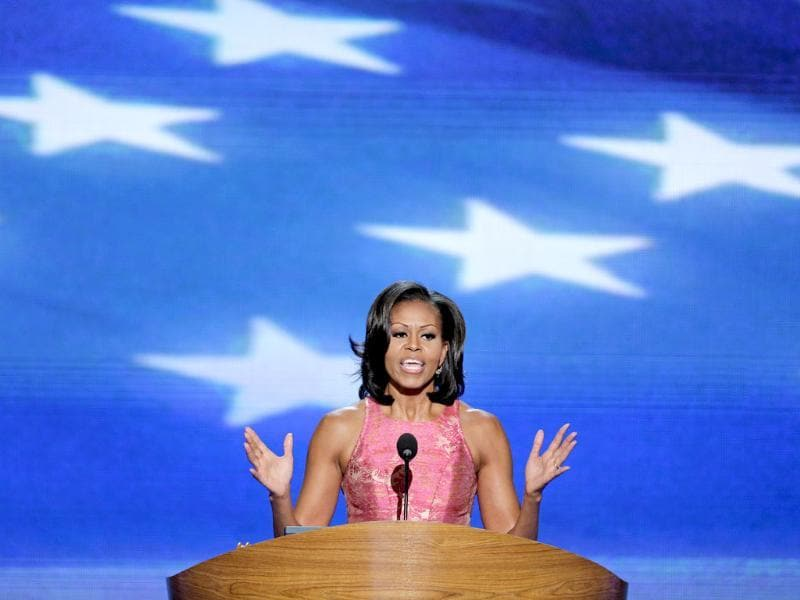 First lady Michelle Obama addresses the Democratic National Convention in Charlotte, North Carolina. AP/J Scott Applewhite