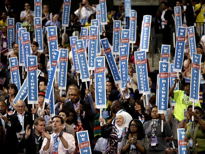 Delegates cheer as first lady Michelle Obama addresses the Democratic National Convention in Charlotte, North Carolina. AP/Charles Dharapak