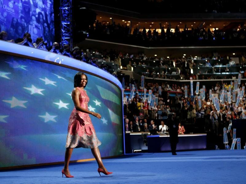 First lady Michelle Obama waves to delegates at the Democratic National Convention in Charlotte, North Carolina. AP/Jae C Hong