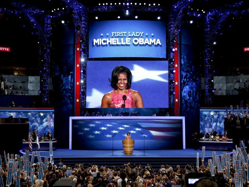 US first lady Michelle Obama addresses delegates during the first session of the Democratic National Convention in Charlotte, North Carolina. Reuters/Jason Reed