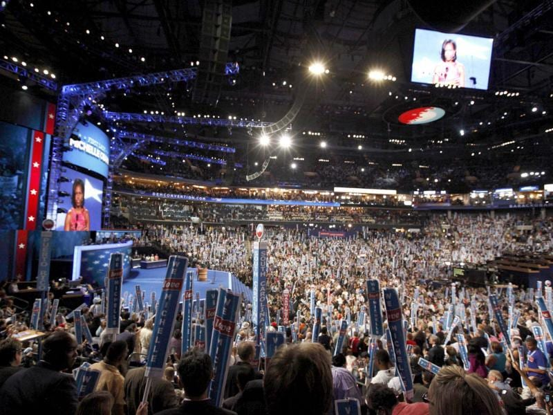 US first lady Michelle Obama addresses delegates during the first session of the Democratic National Convention in Charlotte, North Carolina. Reuters/Jonathan Ernst