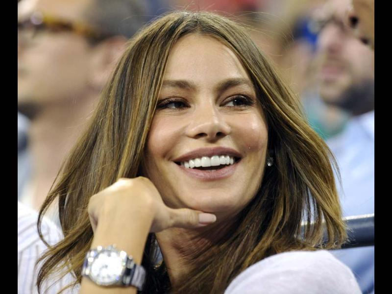 Actress Sofia Vergara attends a night match at the US Open tennis tournament in New York. (Reuters/Bill Kostroun)