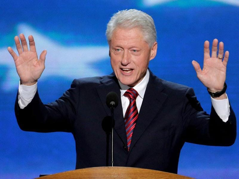 Former US president Bill Clinton addresses the Democratic National Convention in Charlotte, NC. (AP Photo)