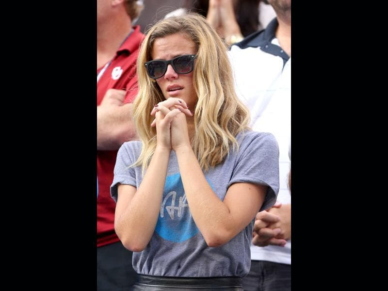Actress Brooklyn Decker watches the men's singles quarterfinal match between her husband, Andy Roddick and Juan Martin Del Potro on day ten of the 2012 US Open at USTA Billie Jean King National Tennis Center. Cameron Spencer/Getty Images/AFP