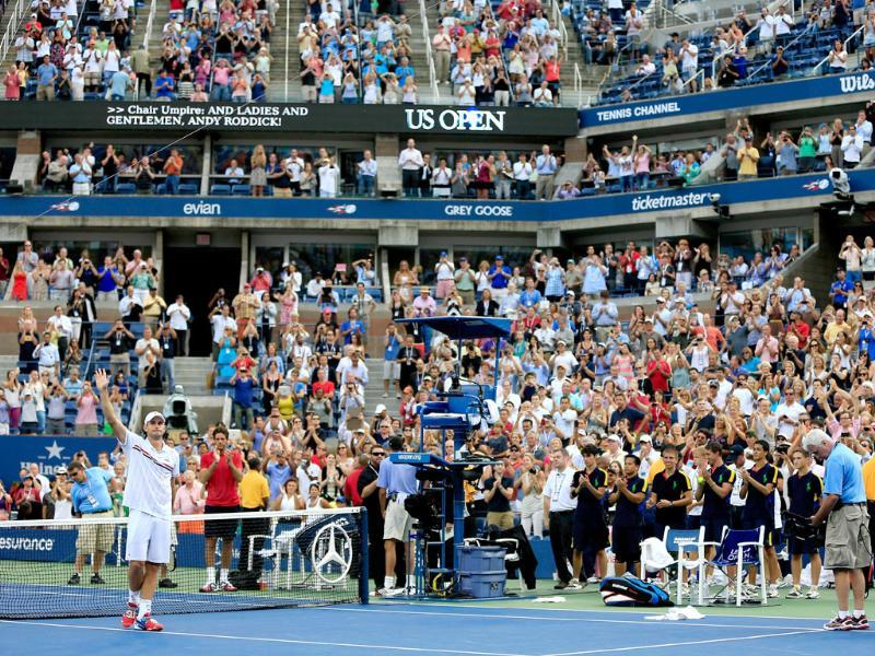 Andy Roddick of the United States waves to the crowd after losing to Juan Martin Del Potro of Argentina during their men's singles fourth round match on day ten of the 2012 US Open at the USTA Billie Jean King National Tennis Center. Chris Trotman/Getty Images