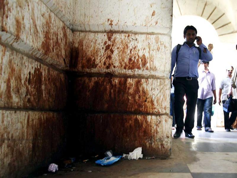A paan-stained corridor in Block-F, Connaught Place. The project to take the British era market back to its glory days has missed every deadline. HT Photo/Raj K Raj