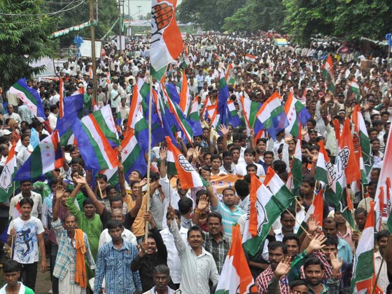 Congress workers raising slogans during their Odisha assembly gherao in protest against the BJD government in Bhubaneshwar. (UNI photo)