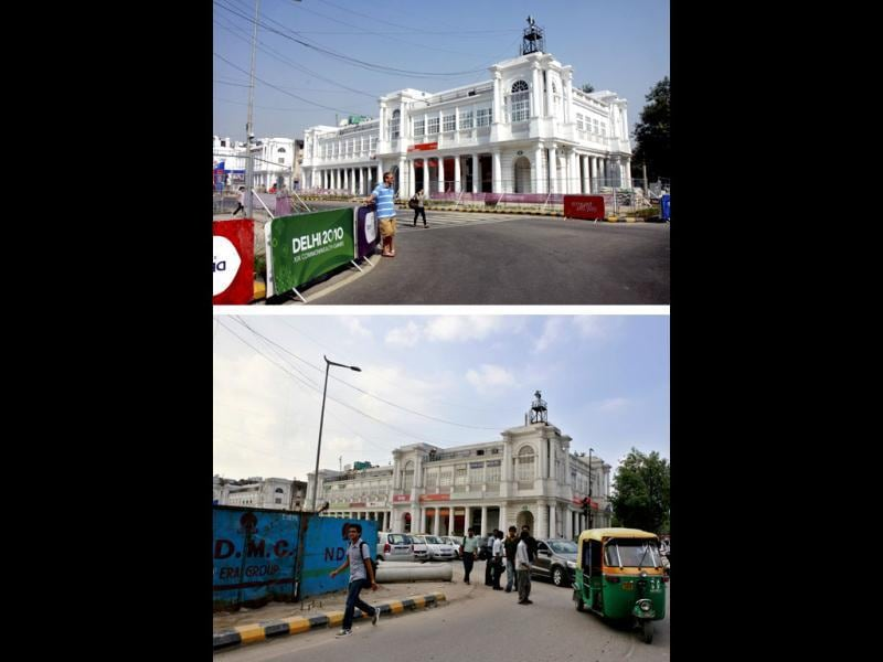 This combination picture shows Radial Road Number 7, Outer Circle of Connaught Place during the 2010 Commonwealth Games (above) and ongoing construction in the Outer Circle now. HT/Sunil Saxena, Raj K Raj
