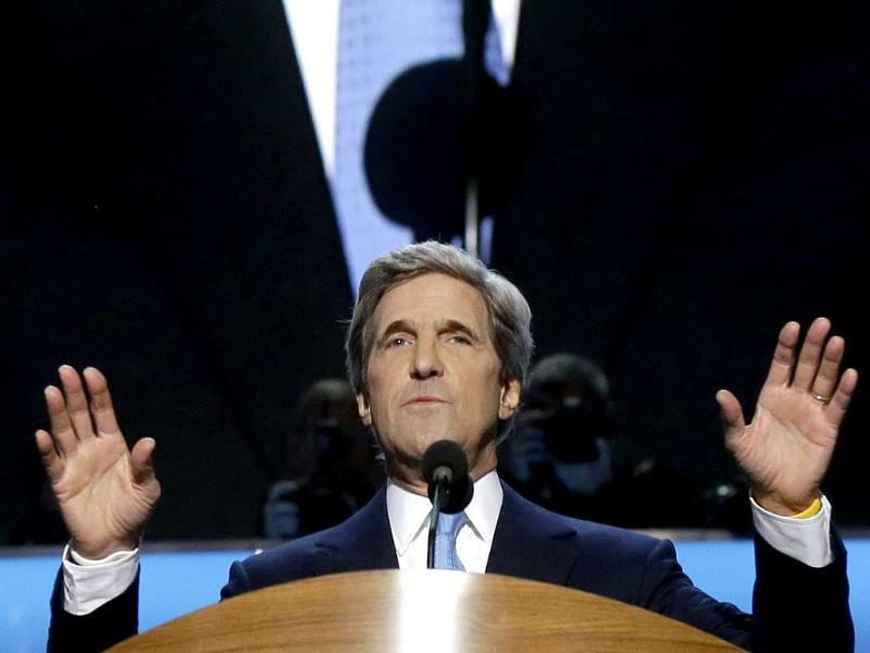 Sen. John Kerry of Massachusetts addresses the Democratic National Convention in Charlotte, North Carolina. AP/Charles Dharapak