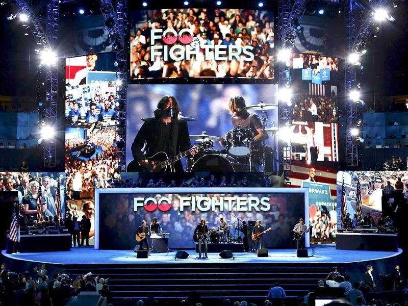 Lead singer Dave Grohl and the Foo Fighters perform during the final session of the Democratic National Convention in Charlotte, North Carolina. Reuters/Jason Reed