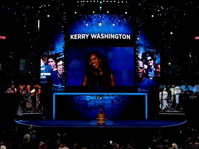 Actress Kerry Washington speaks on stage during the final day of the Democratic National Convention at Time Warner Cable Arena in Charlotte, North Carolina. Alex Wong/AFP