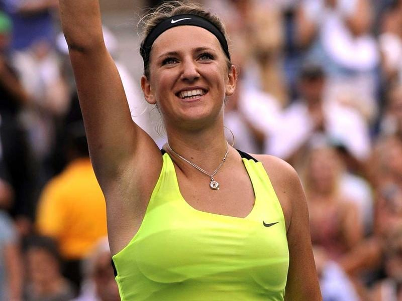 Victoria Azarenka of Belarus celebrates defeating Maria Sharapova of Russia 3-6, 6-2, 6-4 in the 2012 US Open women's singles semifinals at the USTA Billie Jean King National Tennis Center in New York. (AFP Photo)