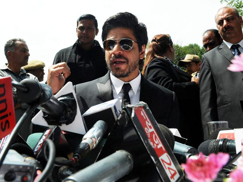 Shah Rukh Khan speaks during a press conference in Srinagar. (AFP)