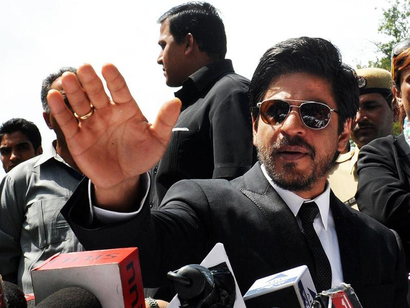 SRK makes a point during the press conference.