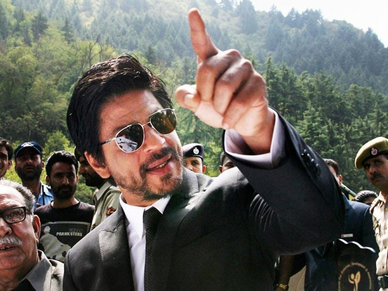 SRK gestures during the press conference.