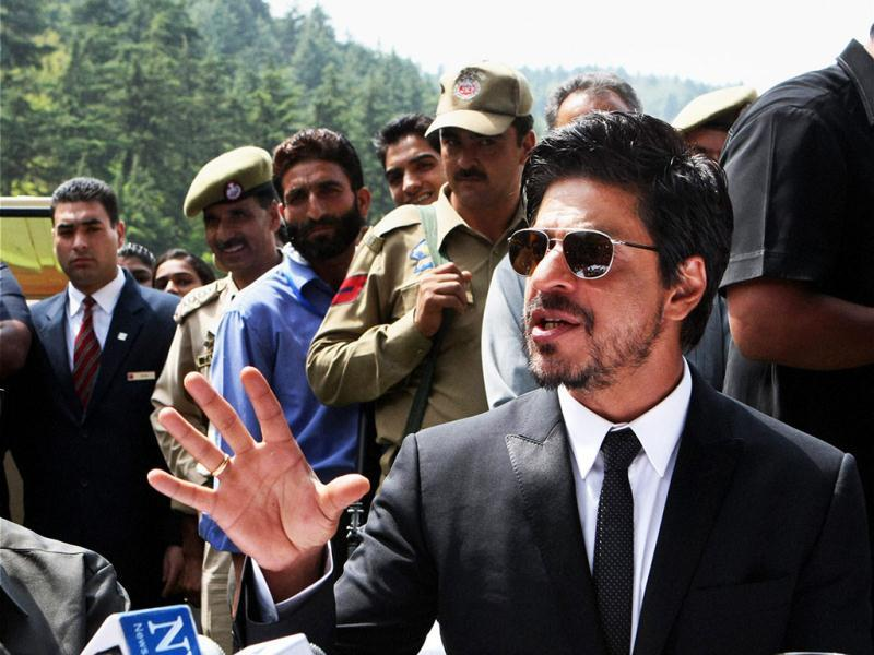 Shah Rukh Khan addresses a press conference in Srinagar on Thursday. (PTI)