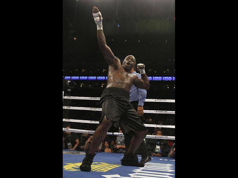 Franklin Lawrence celebrates after defeating Homero Fonseca in a heavyweight boxing match in Oakland, California. AP/Jeff Chiu