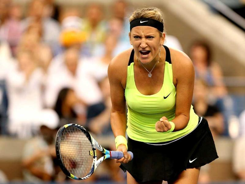 Victoria Azarenka of Belarus celebrates a point during the women's singles final match against Serena Williams of the United States at the US Open tennis tournament in New York. (Matthew Stockman/Getty Images/AFP)