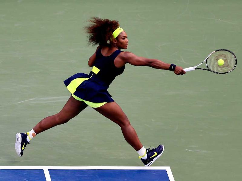 Serena Williams of the United States returns a shot during the women's singles final match against Victoria Azarenka at the US Open tennis tournament in New York. (Chris Trotman/Getty Images for USTA/AFP)