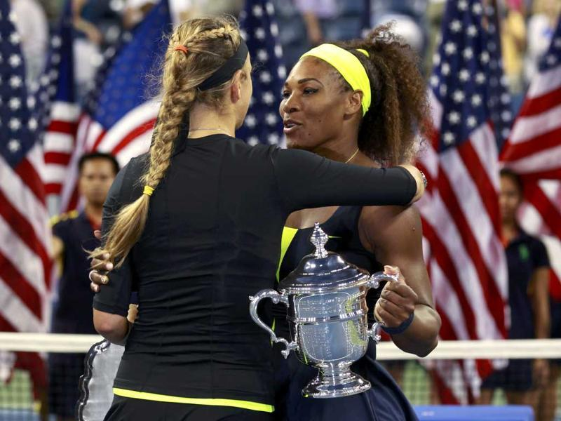 Serena Williams of the US is congratulated by Victoria Azarenka (L) of Belarus after their women's singles finals match at the US Open tennis tournament in New York. (Reuters/Kevin Lamarque)