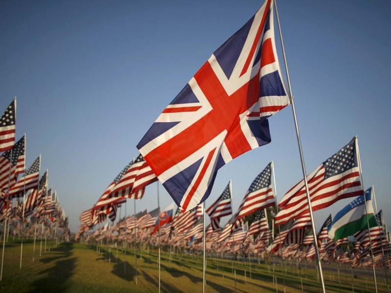 A British flag is seen among flags flying at Pepperdine University in honor of the victims of the 9/11 attacks in Malibu, Calif. One flag from the nationality of each person killed that day was erected. (AP Photo/David McNew)