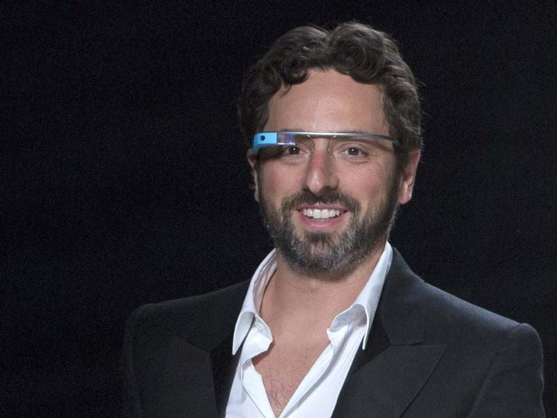 Google co-founder Sergey Brin walks the runway wearing new product