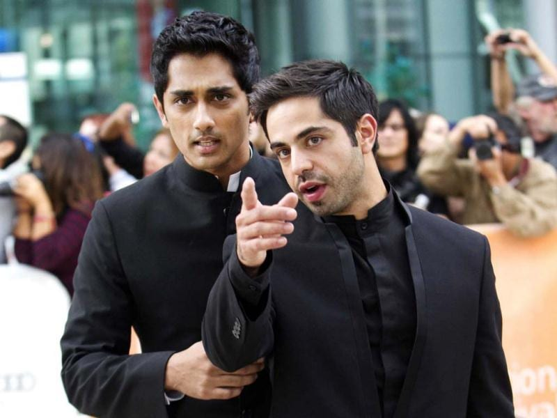 Satya Bhabha (right) plays the lead role of Saleem Sinai. Siddharth Narayan plays Shiva in the movie. Both of them pose for the cameras at the ongoing 37th Toronto International Film Festival.