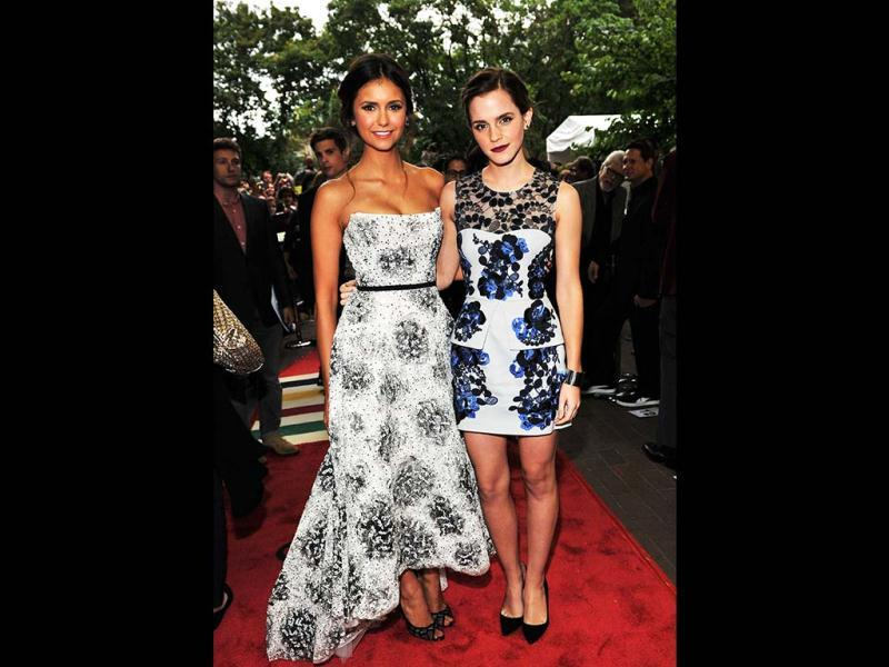 Colour Co-ordinated: Emma Watson and Nina Dobrev (L) attend The Perks Of Being A Wallflower premiere during the 2012 Toronto International Film Festival, Canada.