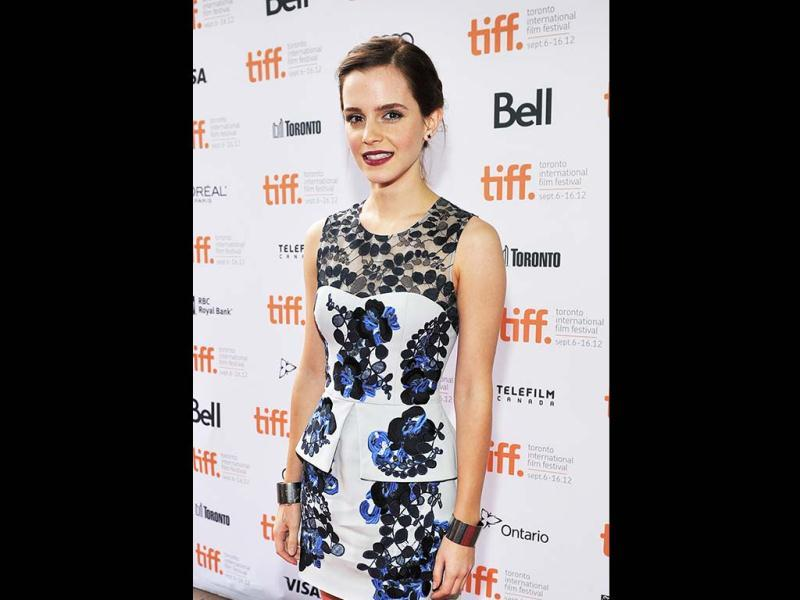 Emma Watson attends The Perks Of Being A Wallflower premiere during the 2012 Toronto International Film Festival at Ryerson Theatre in Toronto, Canada.