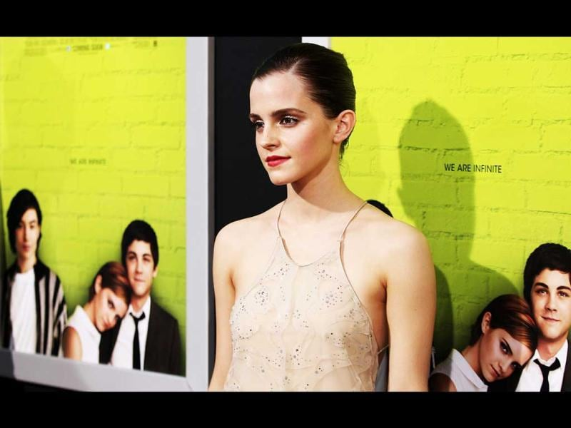 Emma Watson poses for the paparazzi at the LA Premiere of The Perks of Being a Wallflower.