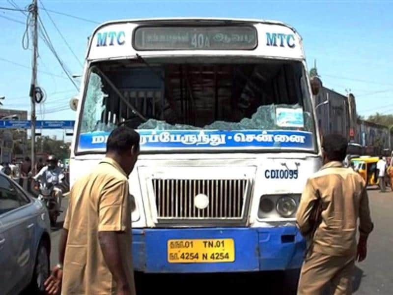 The Kudankulam plant--the project to build it will cost Rs. 17,120 crore--is due to open within weeks and will provide two gigawatts of electricity -- enough to power millions of Indian homes and relieve a power crisis in Tamil Nadu. More nuclear plants are planned. In this picture, a government bus that was vandalised during a protest against the Kudankulam Nuclear Power Plant, in Chennai. (PTI Photo)