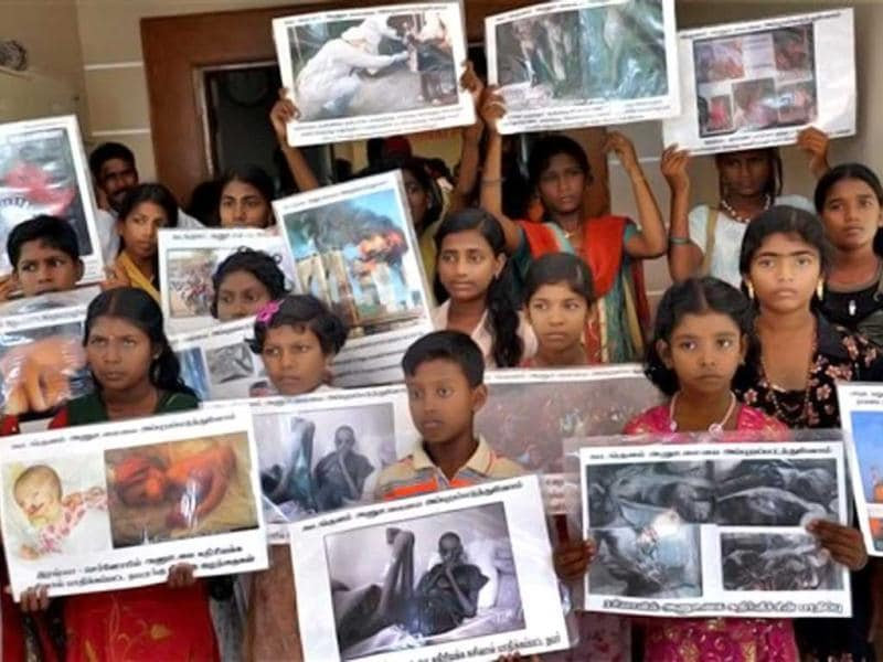 PMANE had decided to take its fight against the Rs.17,120 crore project near the plant and away from Idinthakarai village near Kudankulam. In this picture, children hold placards during a press conference by the People's Movement Against Nuclear Energy (PMANE) in Chennai. First conceived in 1988, Russian-built Kudankulam was supposed to have gone into operation last year, but protesters surrounded the compound after an earthquake and tsunami hit Japan's Fukushima Daiichi nuclear plant, causing radiation leaks and forcing mass evacuations. (PTI Photo)